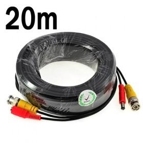 Câble vidéo 2en 1 Alim + vidéo de 20m pour camera surveillance